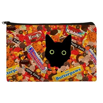 Halloween Black Cat Makeup (Halloween Black Cat Hiding in Candy  Makeup Cosmetic Bag Organizer)