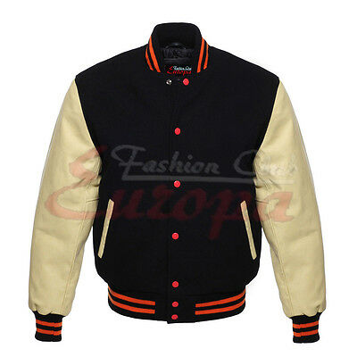 BLACK Varsity  Letterman Wool Jacket with CREAM Real Leather Sleeves XS-4XL