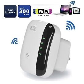 Wifi Repeater Extender, 300Mbps Wireless Network Amplifier, Signal Booster Computer and Tablet