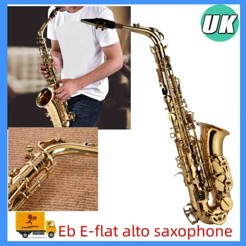 Portable Brass Eb E Flat Saxophone Gold-Plated Alto Sax Set High F# Tone+Box