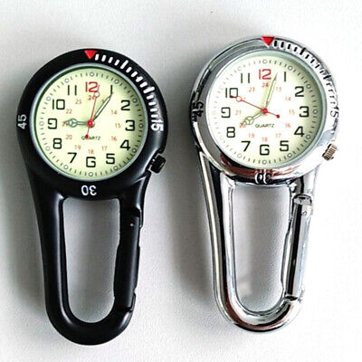 Outdoor Mini Round Arabic Numbers Quartz Analog Clip Carabiner Hook Watch (Claw Clip Watch)