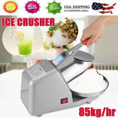 Electric Ice Crusher Shaver Commercial Machine Snow Cone Maker 85kghr 1350rmin