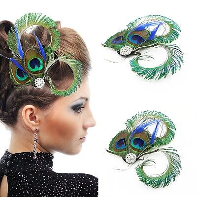 Vintage Hair Accessories Wedding Gift Peacock Feather Crystal Clip Fascinator (Peacock Fascinator)