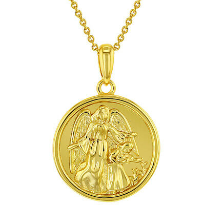 18k Gold Plated Guardian Angel Medal Holy Communion Baptism Pendant Necklace -
