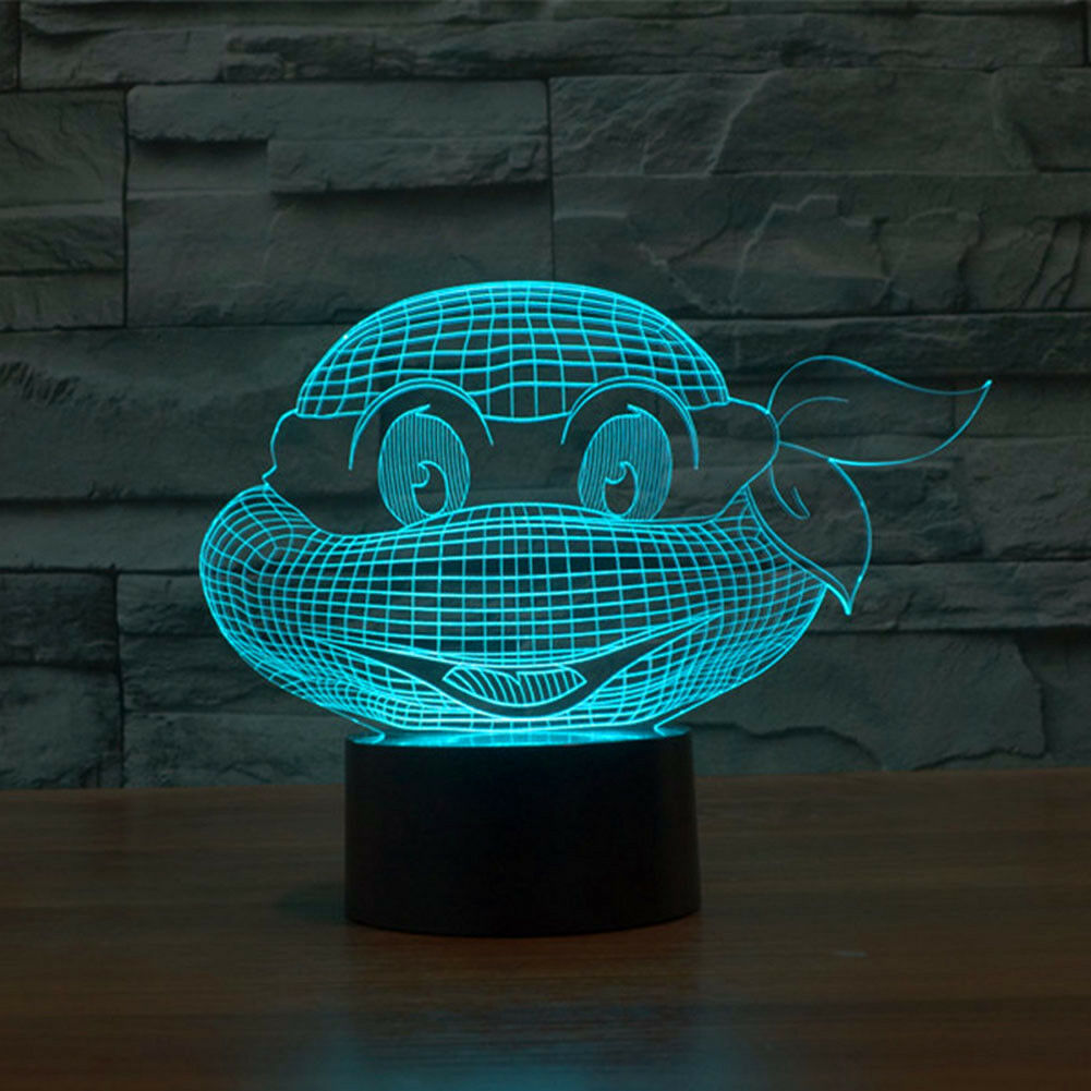 Optical Illusion Desk Lamp 3d LED Ninja turtles 7Color Change Touch Switch Light