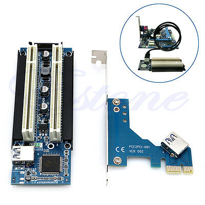 PCI-E Express X1 to Dual PCI Riser Extend Adapter Card With USB 3.0 Cable 2.6 FT