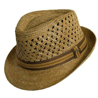 Tommy Bahama Fine Hand Crocheted Raffia Fedora with 2