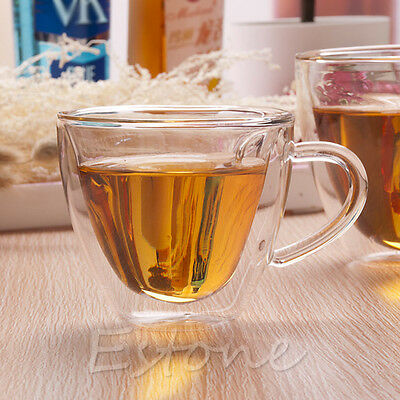 240ml Double Wall Heart Shaped Clear Glass Tea Cup Lover