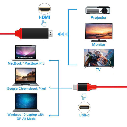 Details about For Samsung Galaxy S10 S9+ Macbook Type-C USB-C to HDMI HDTV  4K Cable Adapter LN