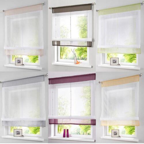 Modern Window Curtain Voile Liftable Roman Blinds Tap Top Sh
