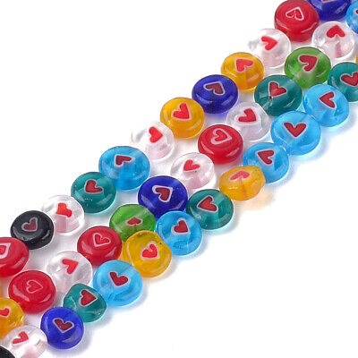 10 Strds Millefiori Lampwork Glass Coin Beads Heart Smooth Tiny Spacers -
