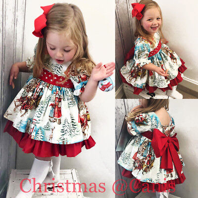 USA Christmas Toddler Kids Baby Girl Xmas Flared Party Santa Swing Dress - Christmas Kids Dress