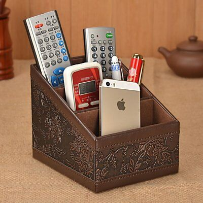 Remote Control Organizer Caddy PU Leather Storage Holder TV Stand Retro Flower ()