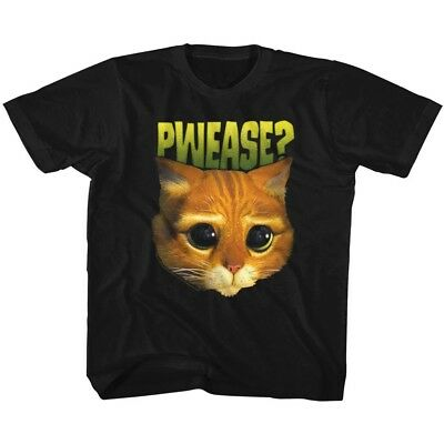 Shrek Puss In Boots Cat Face Pwease Kids Movie Youth T Shirt - Teen Puss
