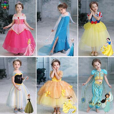 Kinder Mädchen Elsa Belle Aurora Kostüm Party Prinzessin - Prinzessin Belle Kleid