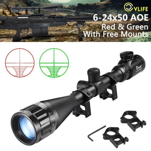 Cvlife 6-24x50 aoe Scope Red & Green Mil-dot Illuminated Optics Hunting