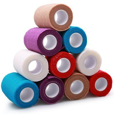 4X5yards 10 Rolls Self Adhesive Bandage Elastic Adherent Tape First Aid Wrap