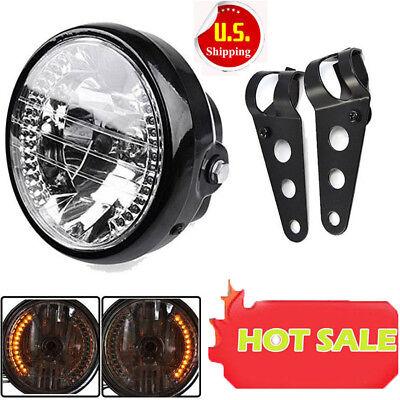 7  Motorcycle Bike Headlight Led Turn Signal Light Black Bracket Mount  Sale