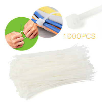 1000 Uv Nylon Cable Wire Zip Ties Arrow Head Push Mount 50 Lbs 8 Inch White