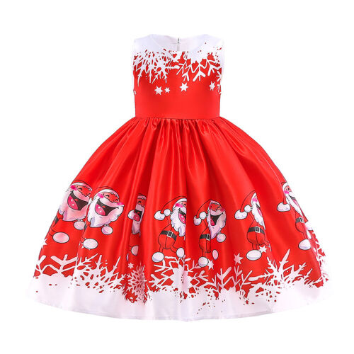 Christmas Princess Dress for Children Baby Girls Fashion Xmas Santa Snowflake Tree Print Outfit Frock Clothes