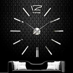 DIY Extra Large Wall Clock 3D Mirror Surface Sticker Living Room Decor Silver UP
