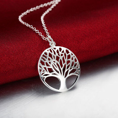 Tree Of Life Charm Circle Pendant   Chain Necklace In Solid  925 Sterling Silver
