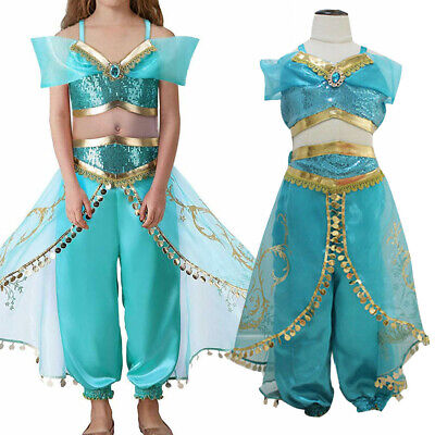Kids Aladdin Costume (Kids Aladdin Costume Princess Jasmine Cosplay Outfit Girls Halloween Fancy)