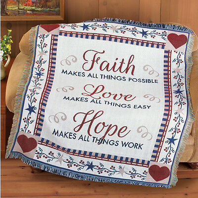 Hope Tapestry Throw - Sentiment Faith Love Hope Country Tapestry Throw Primitive Simplify Star Blanket