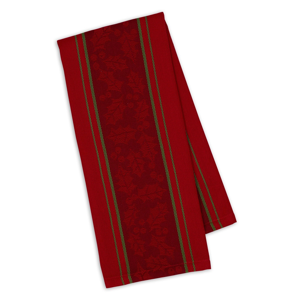 Holly Stripe Jacquard Christmas Kitchen Towel - Red and Gree