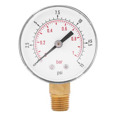 Mini Low Pressure Gauge For Fuel Air Oil Or Water 52mm 0-15 Psi 0-1 Bar Ark