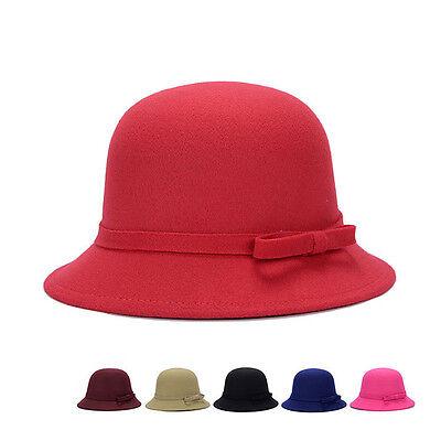 Magik Women Lady Vintage Wool Round Fedora Bow Cloche Derb Felt Bowler Cap Hat