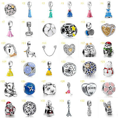 Sterling 925 Charm Pendant - European 925 Silver CZ Fine Charm Beads Pendant Fit 925 sterling Bracelet Chain