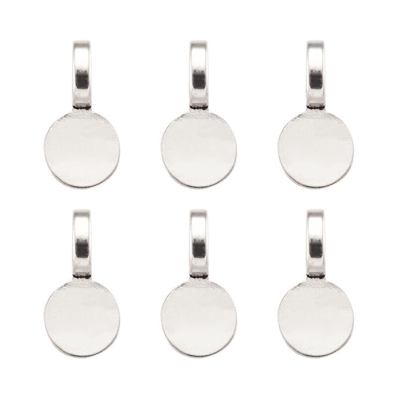 100 Tibetan Alloy Glue-On Bails Smooth Flat Round Pad Pendant Holder Silver 18mm