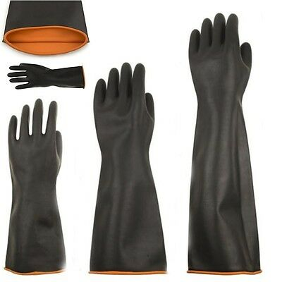 Black Elbow-long Industry Anti Acid Alkali Chemical Resistant Rubber Work Gloves