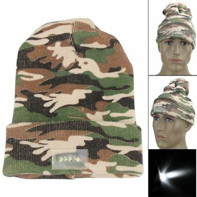 LED Lights Camouflage Hat Winter Warm Beanie Knitted Safety Army Cap For Walking - Led Lights For Hats
