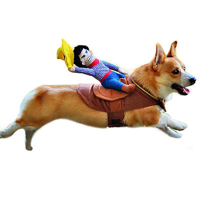 Puppy Dog Halloween Cowboy Funny Cute Soft Pet Costume Riders Clothes S-XL