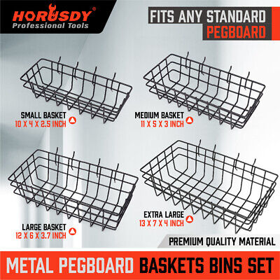 4 Pack Pegboard Baskets Organize Tools Shelf Storage Box Steel Garage Wall