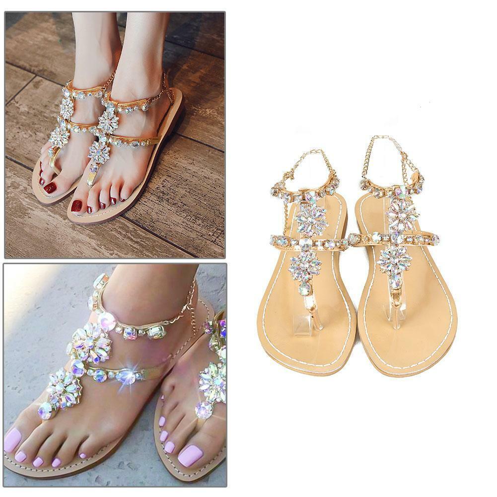 Bling Women Rhinestone Sandals Shoes Chain Summer Flip Flops Beach Flat T-strap