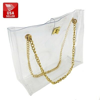 Beautiful Big Transparent Clear PVC Purse Gold-colored Clasp Chain Shoulder (Gold Chain Shoulder Bag)