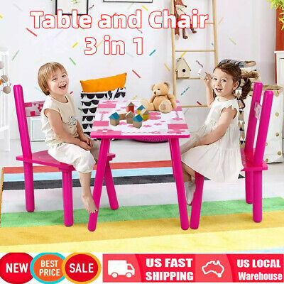 Kids Table and 2 Chairs Set Toddler Baby Gift Desk Wood Furniture Flower Pattern