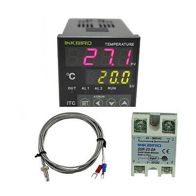 Digital Pid Temperature Controller 25 A Solid Ssr Alarm Fan Sensor 12v 24v Temp