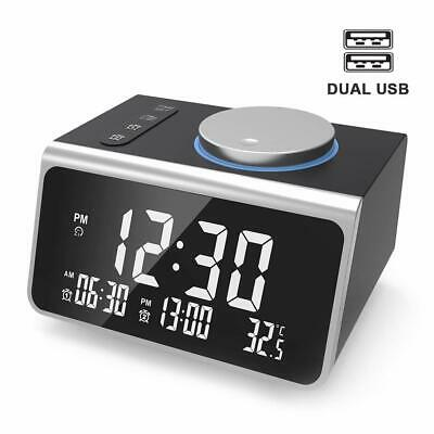Alarm Clock Charger w/2 USB Ports, Radio with FM Radio, Dual Alarm w/Snooze