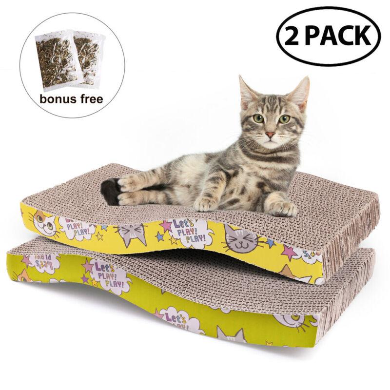 2PCS Pets Cat Kitten Corrugated Scratch Board Pad Scratcher Bed Mat Claws Care