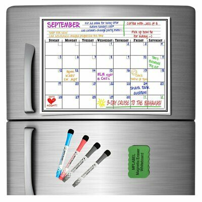 17x11 Monthly Magnetic Dry Erase Board Calendar Refrigerator White Board Plan
