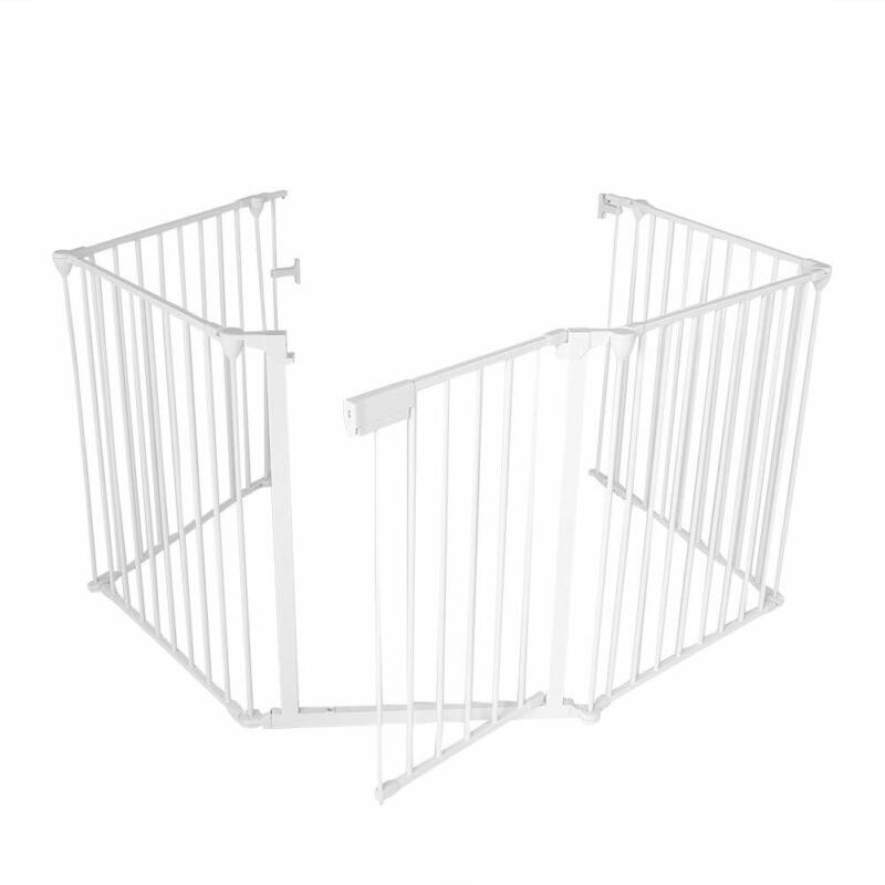 """Safety Firepalce Fence Baby Gate Guard 5-Panel Metal Adjustable 122"""" White"""