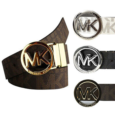 Michael Kors Ladies 551342 Round Buckle Reversible MK Logo Signature Belt