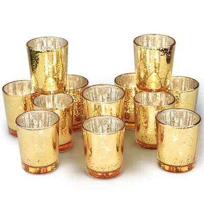Volens Gold Votive Candle Holders Bulk, Mercury Glass Tealight Candle Holder Set - Glass Votive Candle