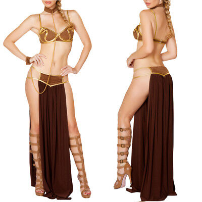 Women Princess Leia Slave Fancy Bra Top Dress Star Wars Bikini Halloween Costume (Halloween Costumes Bra)
