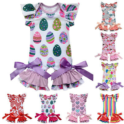 Baby Girl 1st Easter Egg Ruffles Romper Jumpsuit Pajamas Outfit Clothes - Baby Girl Holiday Pajamas