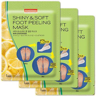 3Pairs  Shiny and Soft Purederm exfoliating Foot Peeling Mask K-beauty